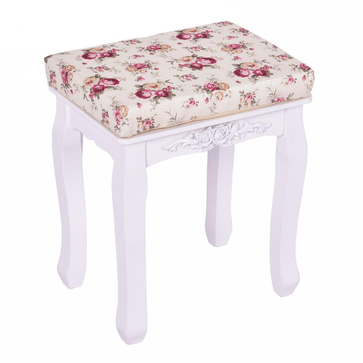 White Cushioned Vanity Stool Piano Seat Vanity Stool White