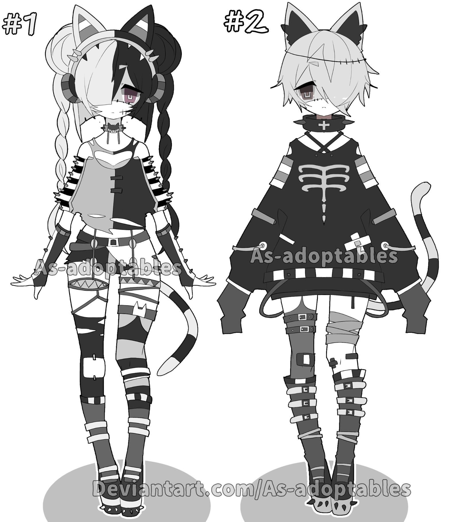Monochromatic zombie adoptables OPEN SET PRICE by AS