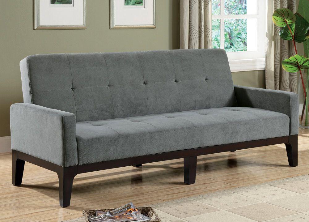 Delaney Collection 300229 Blue Gray Futon Contemporary Sofa Bed