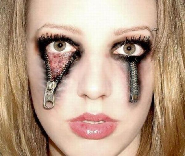 halloween makeup | great halloween makeup, zippers underneath her ...