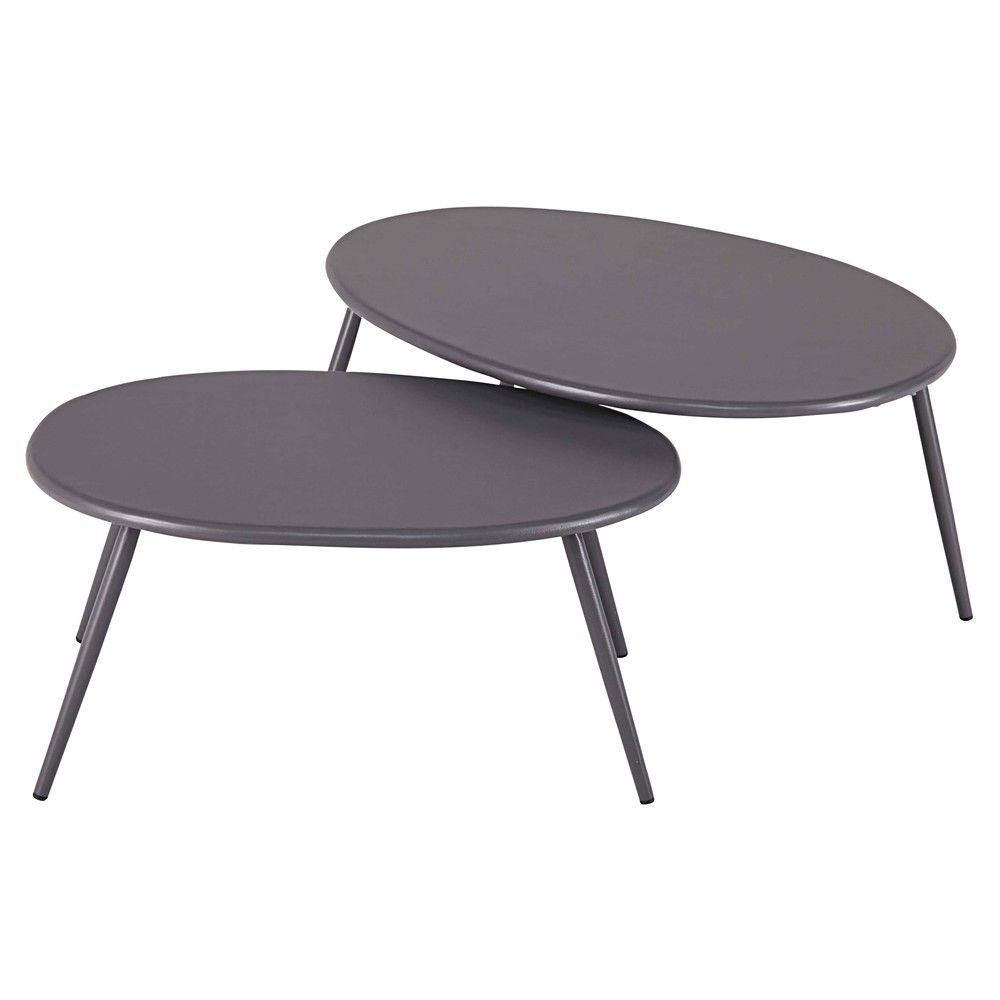 Tables gigognes de jardin en métal gris | Déco | Metal garden ...