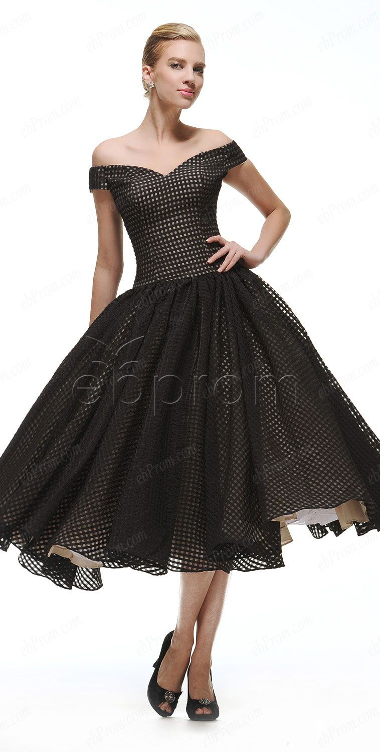 Off the shoulder black vintage ball gown prom dresses tea length ...