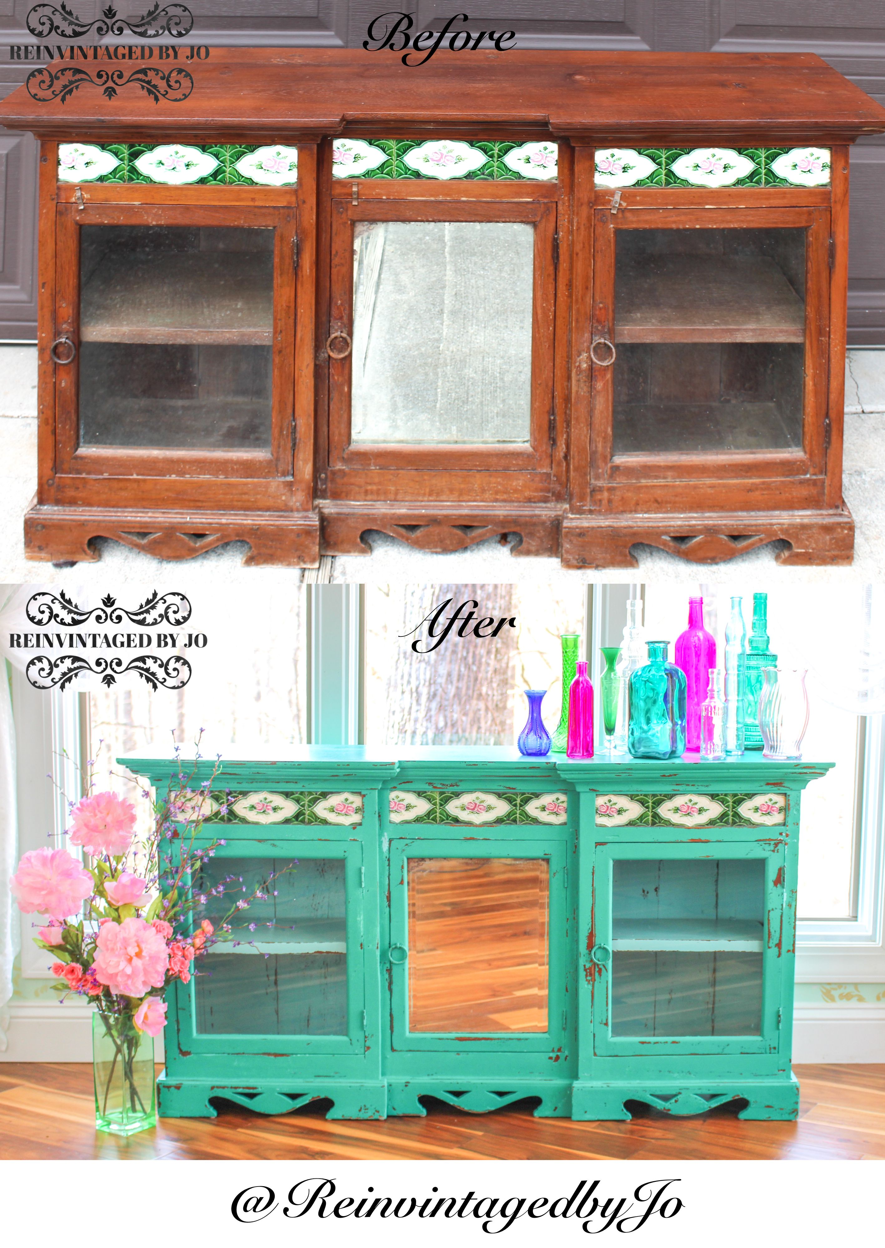 Reinvintaged By Jo Handpainted Turquoise Green Hutch Bookshelf Bookcase Storage Buffet Server Light Blue Interior Distressed Eclectic Bohemian Boho
