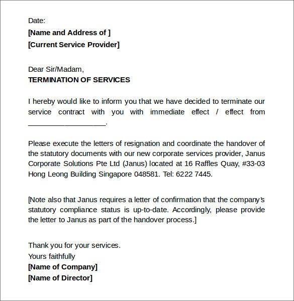 sample termination letters services employment letter template - safety contract template