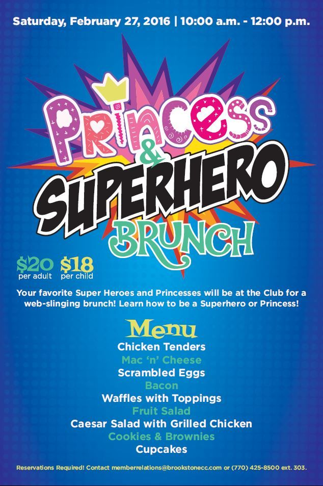 princess and superhero brunch design template