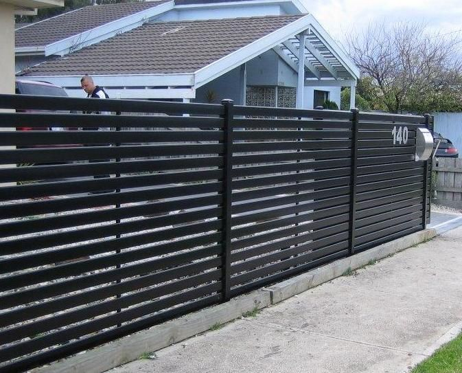 Metal Privacy Fence With Horizontal Slat Fencing Aluminium Slat Screens Slat Fencing Melbourne Fence Design Metal Fence Steel Fence