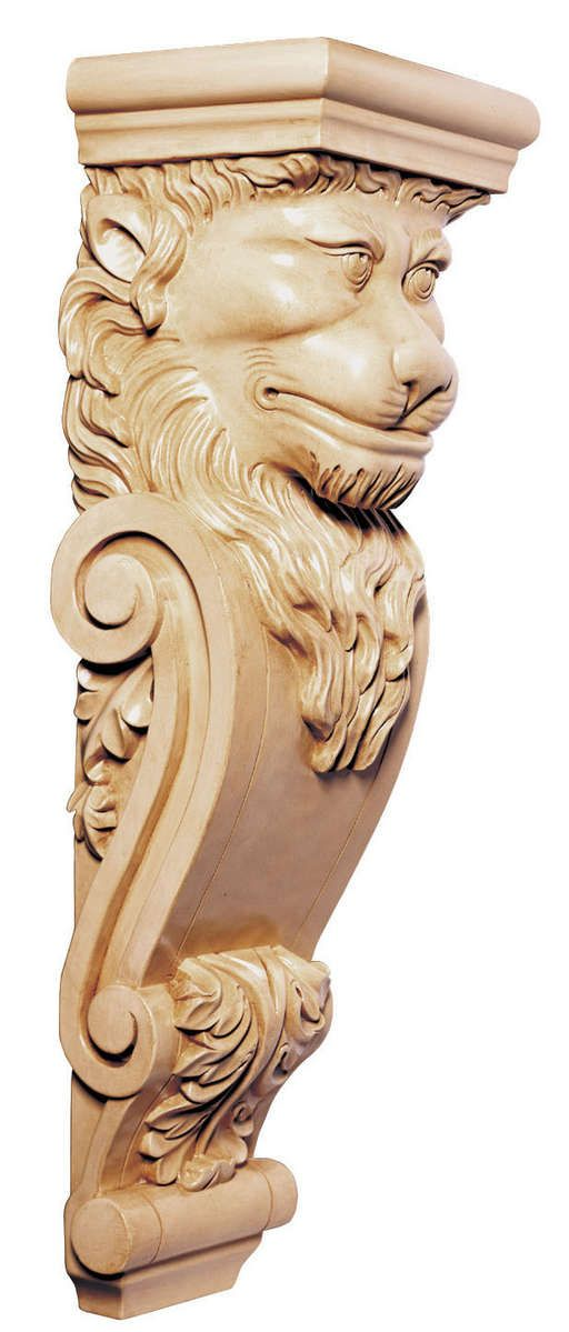 Handcarved Elements Handcarved Woodcarvings Corbels And Brackets 8 W X 26 H X 6 1 2 D Lion S Head Corbel White River Corbels Wooden Art Wood Art