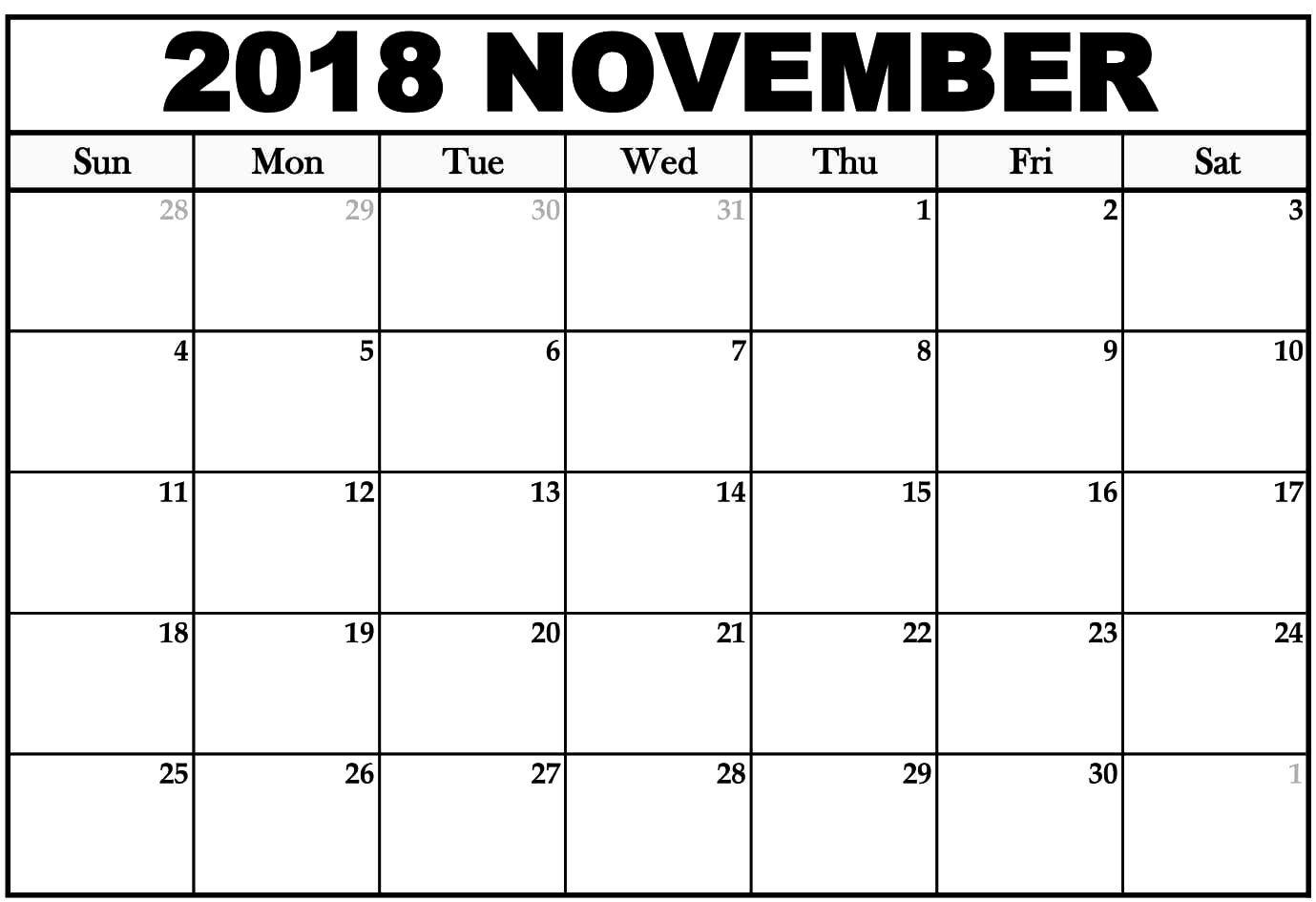 blank november 2018 calendar table