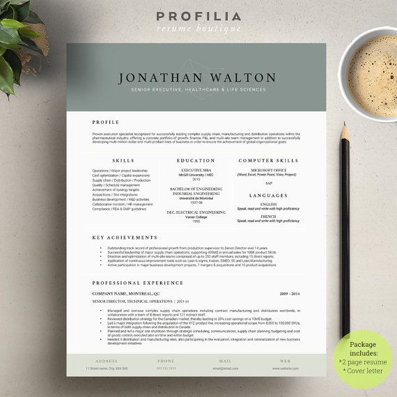 Modern Resume  Cover Letter Template --- Editable word format