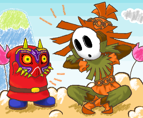 Bigsamthompson Shy Guy Trades Masks With The Weird Skull Kid From Majora S Mask Shy Guy Character Design Super Smash Brothers
