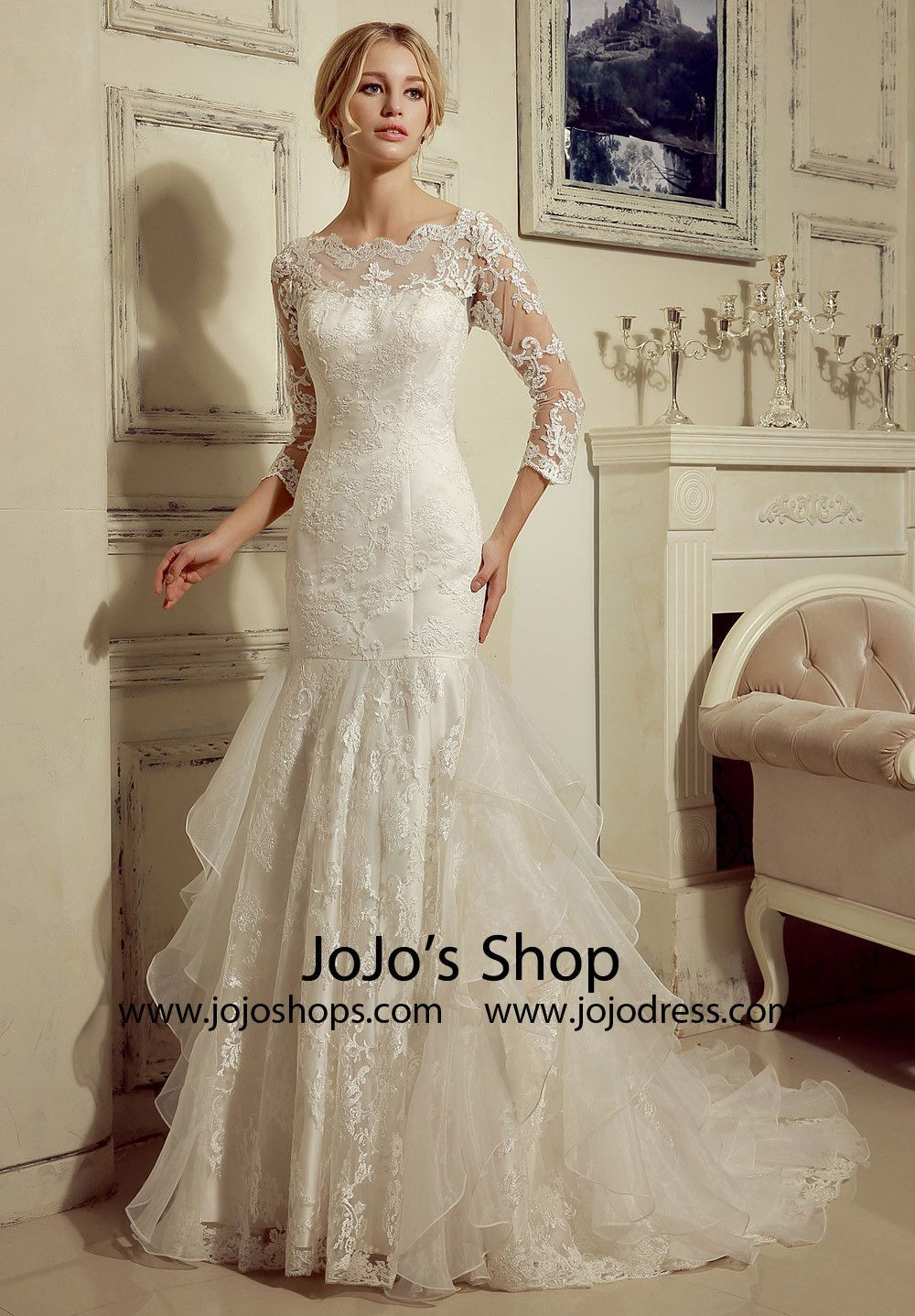 Long sleeves lace fit and flare wedding dress in wedding
