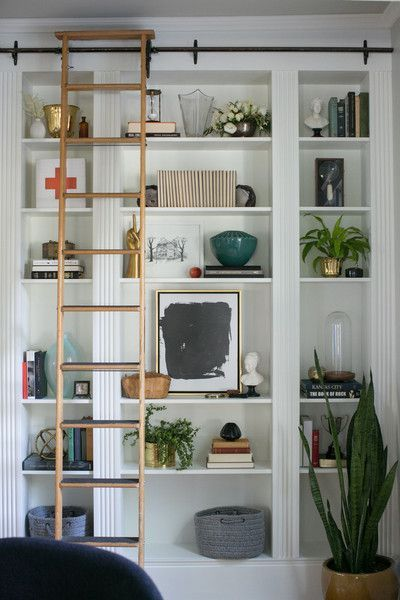 bookcase with sliding ladder styling bookshelves pinterest shelves styling bookshelves. Black Bedroom Furniture Sets. Home Design Ideas