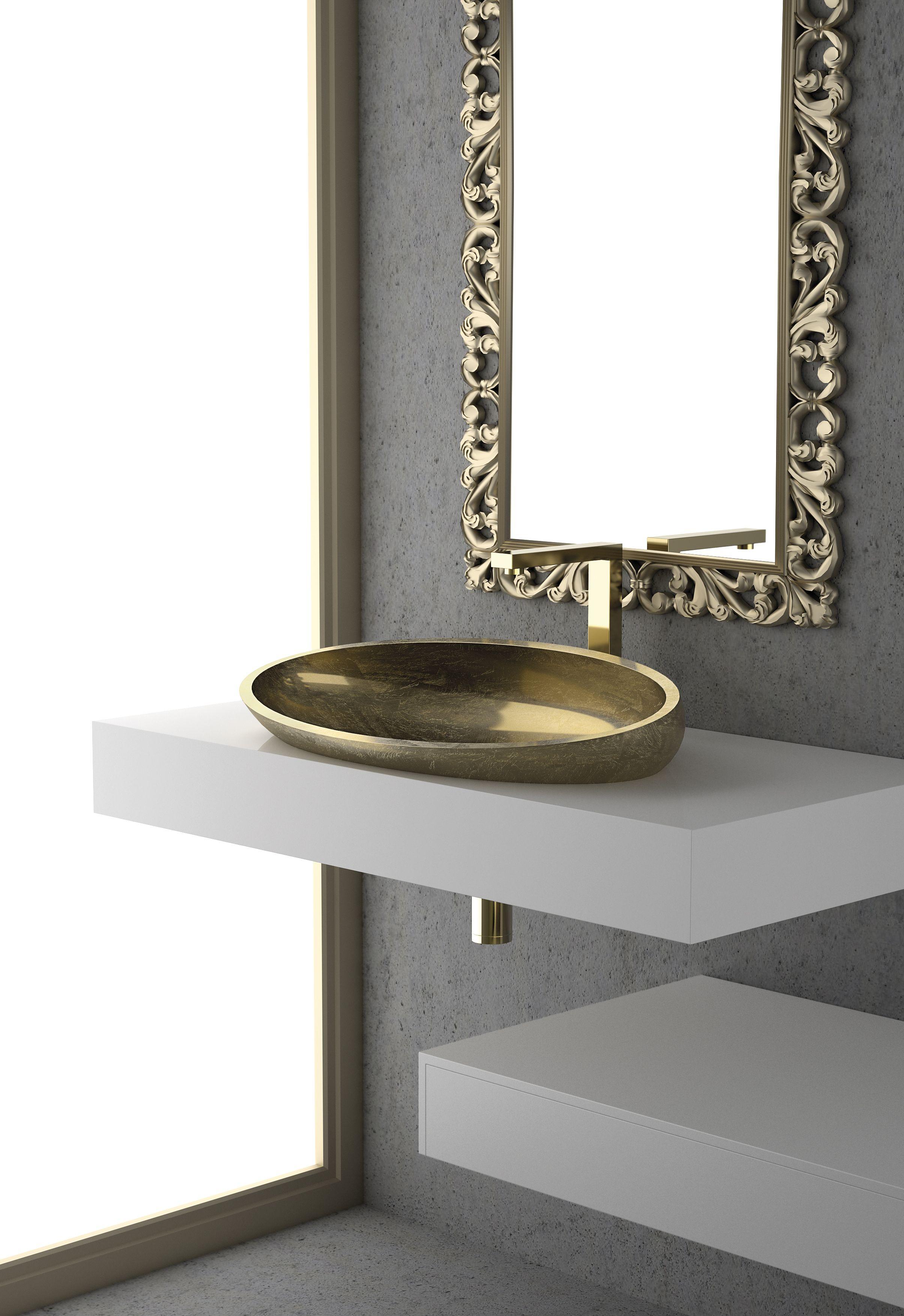 Ein De Luxe Waschbecken Blattauflage Gold Waschbecken Pinterest