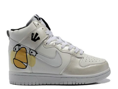 Discount Authentic Mens Nike Dunk High Shoes White/Metallic Platinum Angry Birds