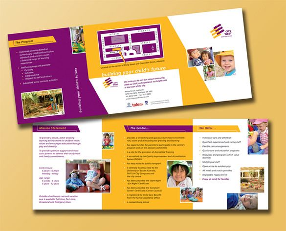 10+ Beautiful Child Care Brochure Templates Free \ Premium - business pamphlet templates free