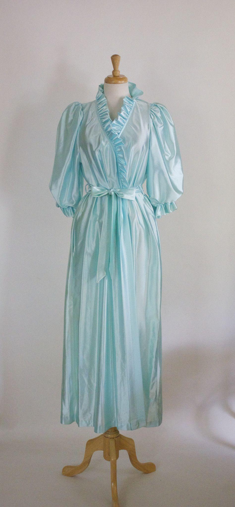 Vintage Miss Elaine Ruffled Satin Bathrobe   DLT Vintage and Retro ...