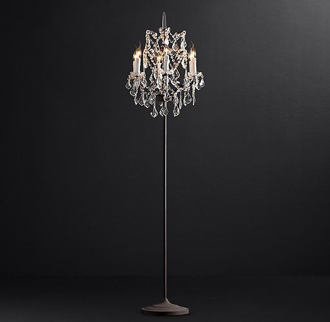 19th C Rococo Iron Clear Crystal Floor Lamp Crystal Floor Lamp Chandelier Floor Lamp Crystal Floor