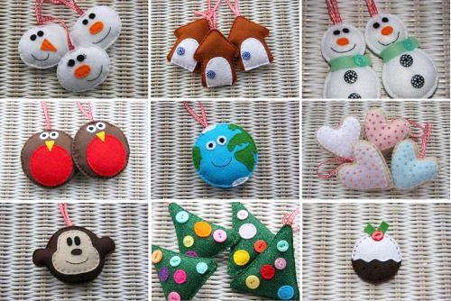 Cute felt ornaments Moraes Pinterest Fieltro, Navidad y Adornos