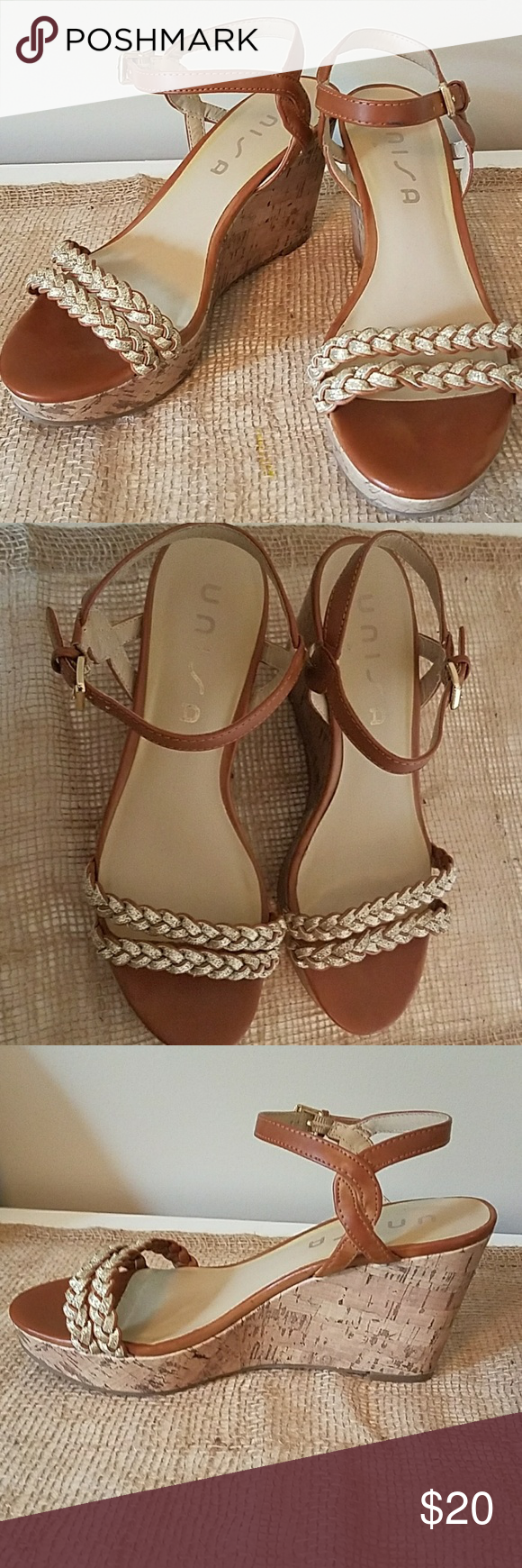 afac42fd687e3e Unisa Brown   Gold Sparkle Wedge Sandals Super cute wedge sandals. The  braids are a really sparkly gold. The side buckle around the ankle is gold  also.