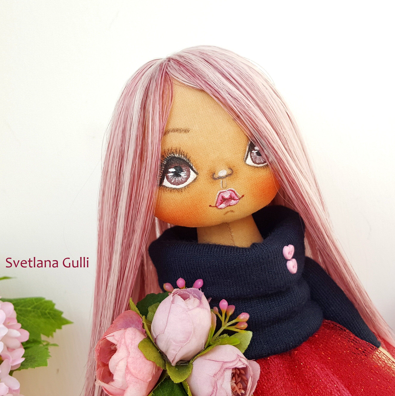 Pink Textile Doll Fabri Doll Interior Decor Doll Rag doll Cloth doll Gift for girl Nursery Doll Birthday gift Pink hair doll #dollcare