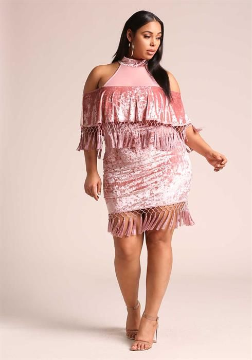 $59.95--3X--MAUVE--Plus Size Crushed Velvet Tassel Bodycon Dress ...