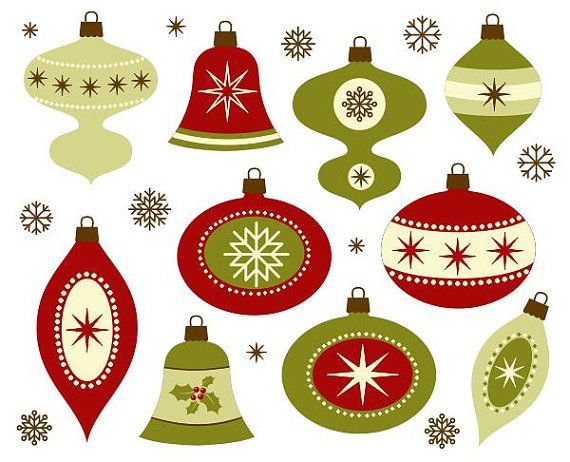 Retro Christmas Decoration Clip Art New Year Digital Clipart