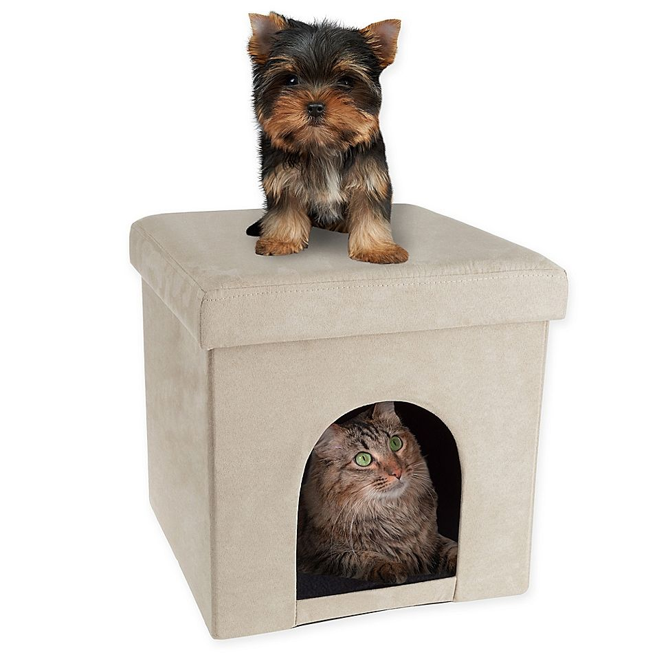 Petmaker House Ottoman Pet Cube In Tan Dog Beds For Small Dogs