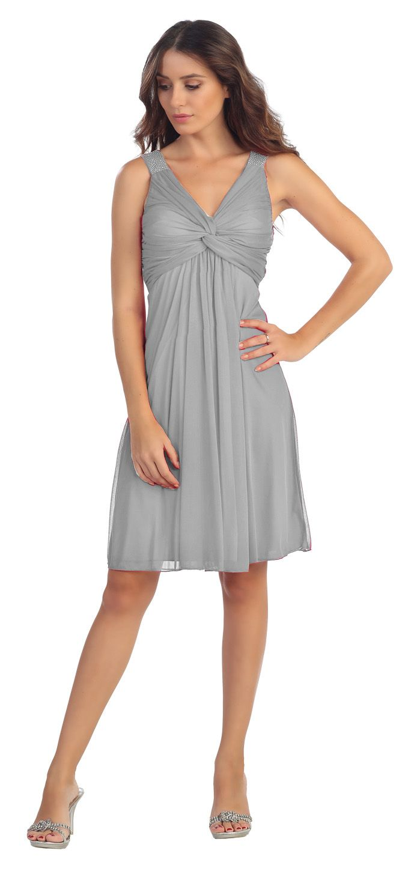 Knee Length Chiffon Bridesmaid Dress Silver Empire Thick Strap ...