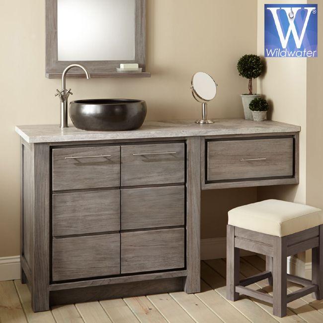 Bathroom Furniture Teak Oak And Mahogany Bathroom Vanities In 2020 Bathroom With Makeup Vanity Vessel Sink Vanity Bathroom Vanity