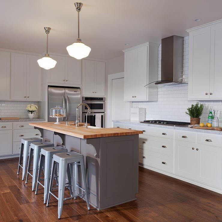 gray kitchen island butcher block top transitional kitchen ...