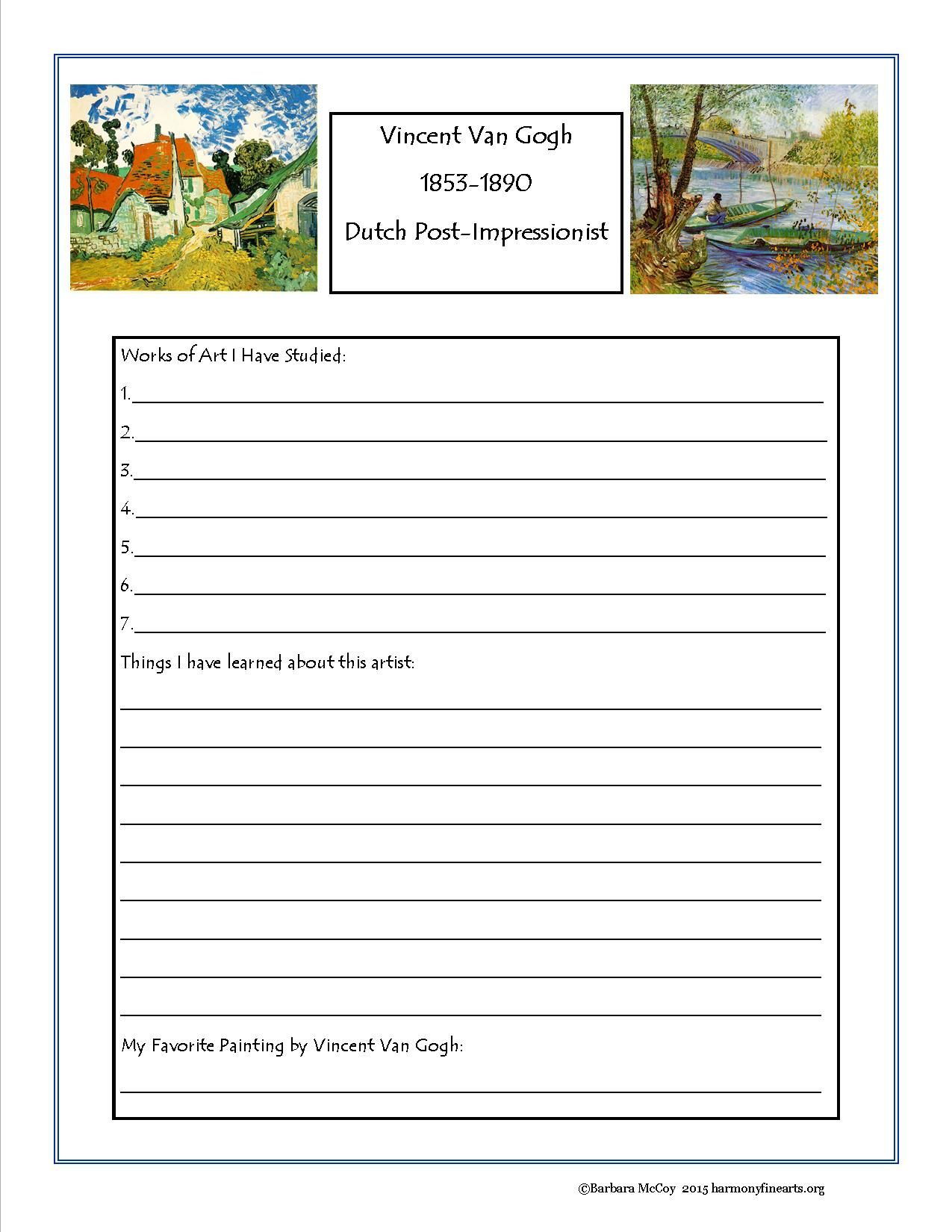 Van Gogh Art Activity