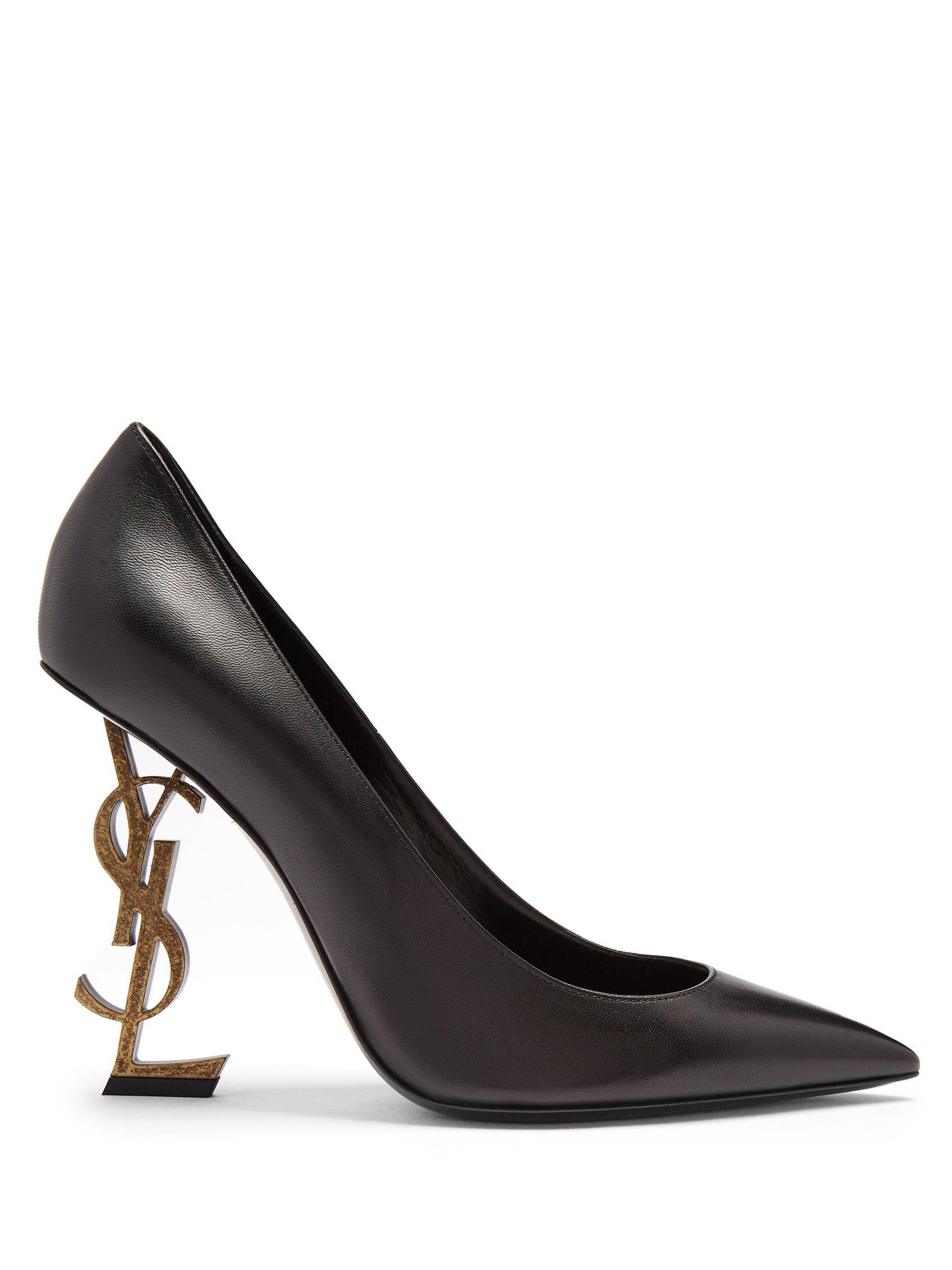 d52c9bab5a9c2 Opyum logo-heel leather pumps | Saint Laurent | MATCHESFASHION.COM ...