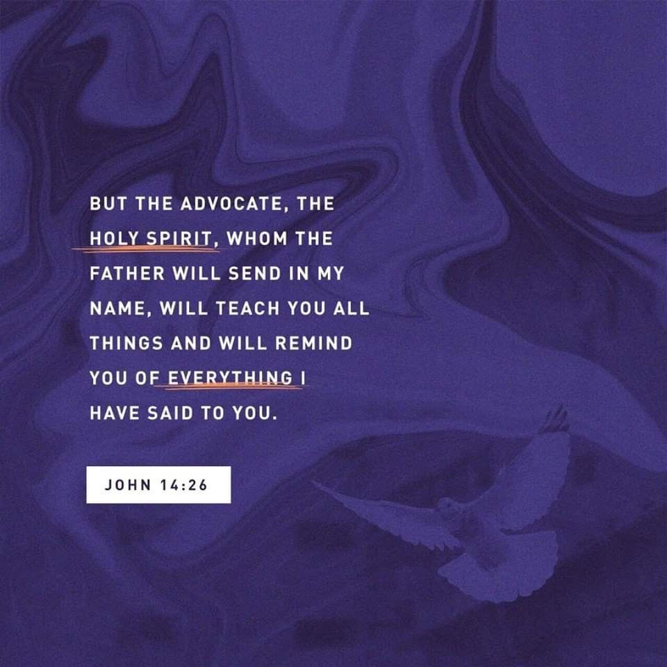 """But the Advocate, the Holy Spirit, whom the Father will ..."