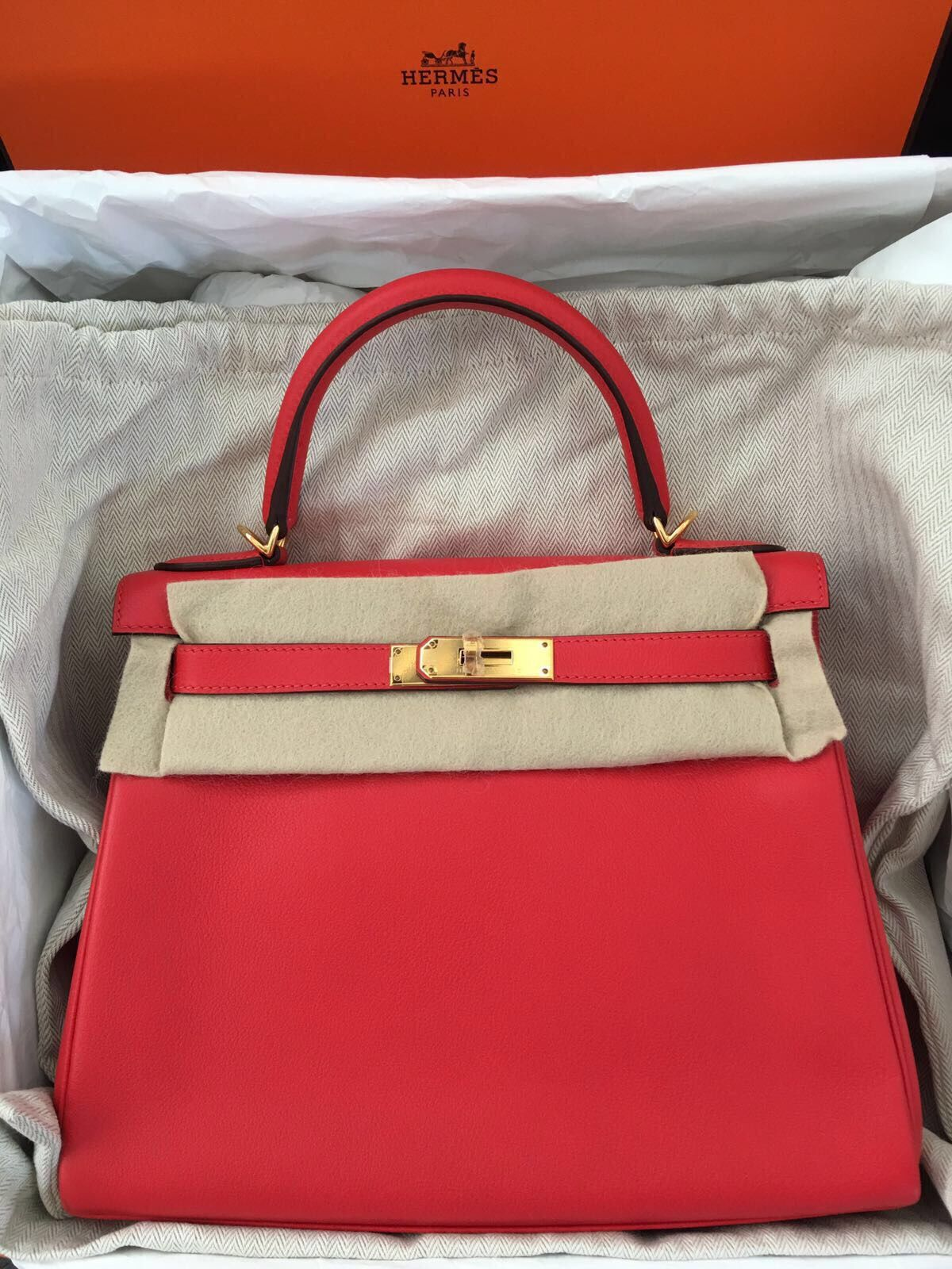 Model  Hermes Kelly 28 Stamp  X Color  Rouge Tomate Leather  Evercolor  Hardware 36e4318bf1