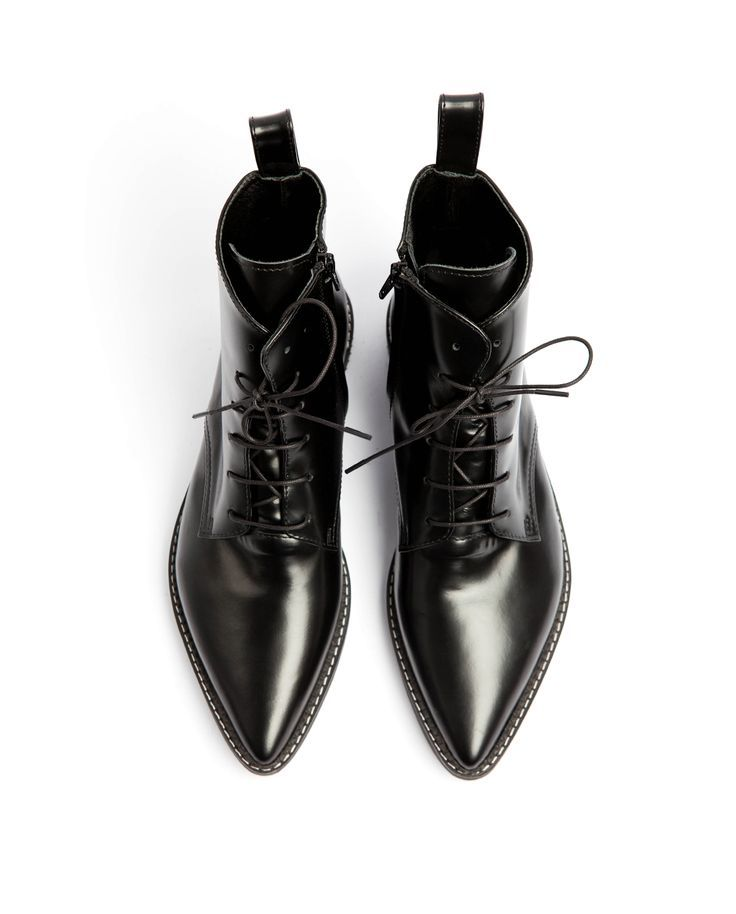 Dapper Pointed Toe Lace-up Boots -  - #Boots #Dapper #Laceup #Pointed #Toe