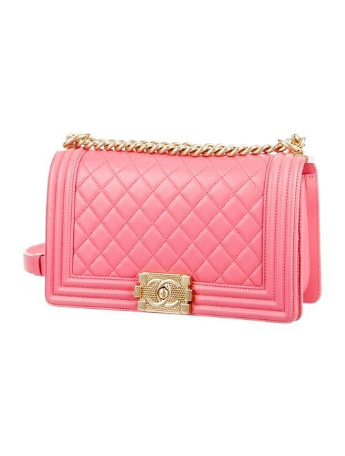 9b94839f42f833 CHANEL pink quilted calfskin Medium Boy Flap Bag with gold-tone hardware