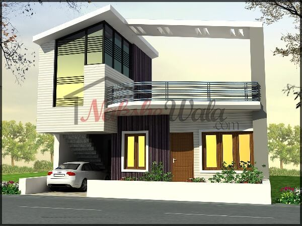 160simplex front house elevation indian for Front look of small house