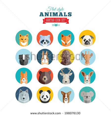 Flat Style Animals Avatar Vector Icon Set - stock vector