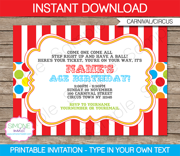 carnival themed birthday party invitation templates Alan