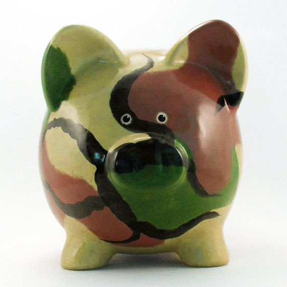 Green Camo Piggy Bank Personalized Piggy Bank Hunting Ceramic