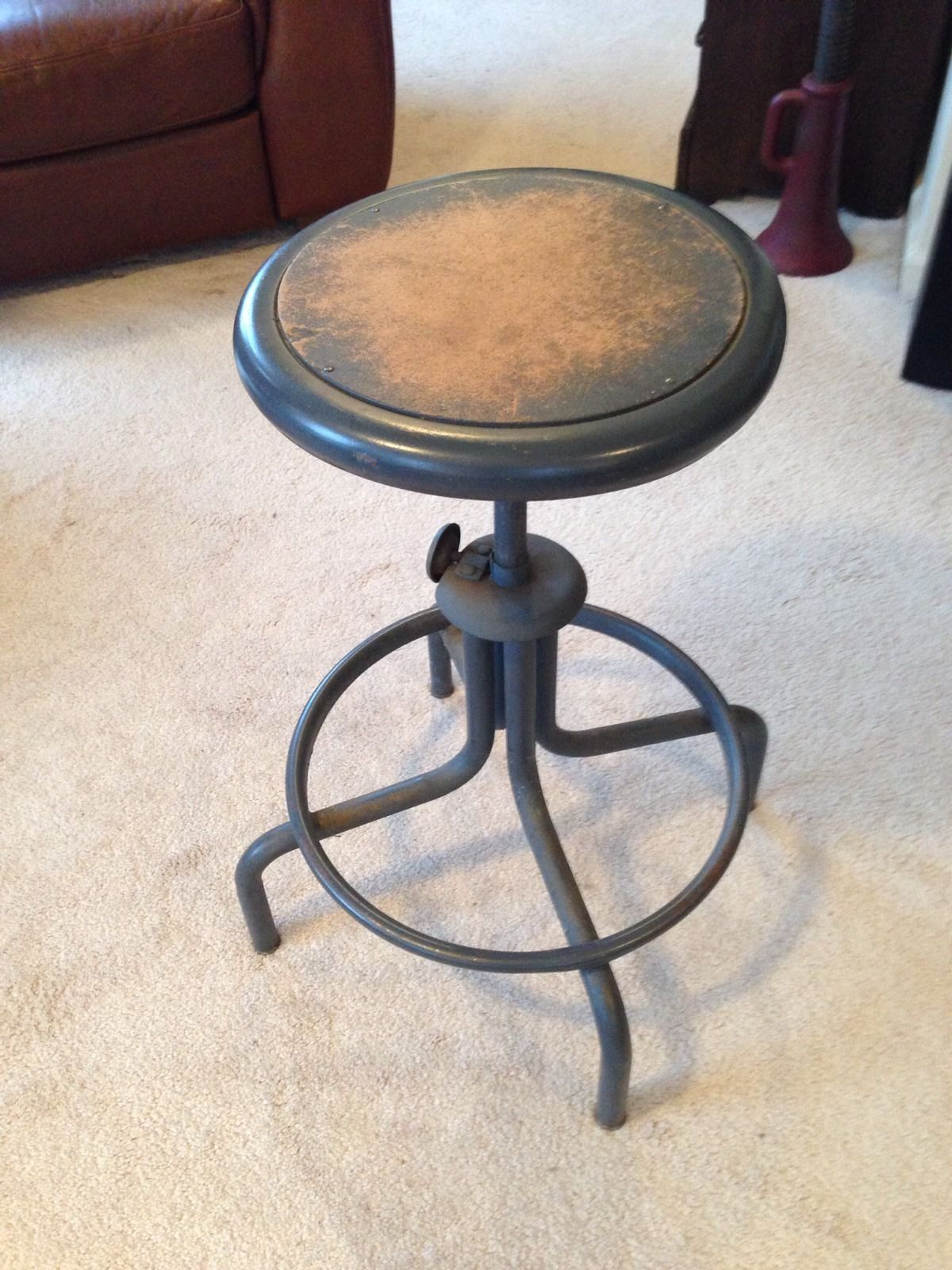 Vintage Industrial Factory Adjustable Drafting Work Shop Stool Chair Metal Ebay Metal Chairs Shop Stool Stool Chair