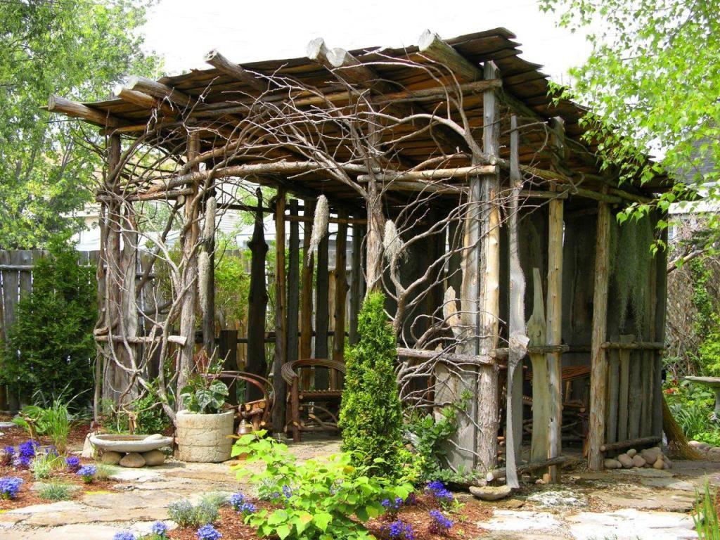 Outstanding Uniqe Garden Garden with Natural Dry Tree Gazebo ...
