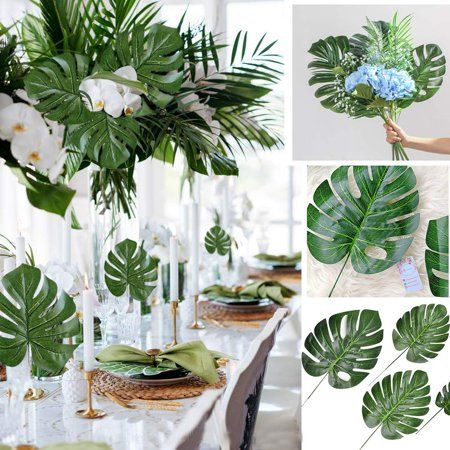 Coolmade Faux Palm Leaves with Stems Artificial Tropical Plant Imitation Safari Leaves Hawaiian Luau Party Suppliers Decorations (24PCS Turtle Leaf Bundle) - Walmart.com #hawaiianluauparty