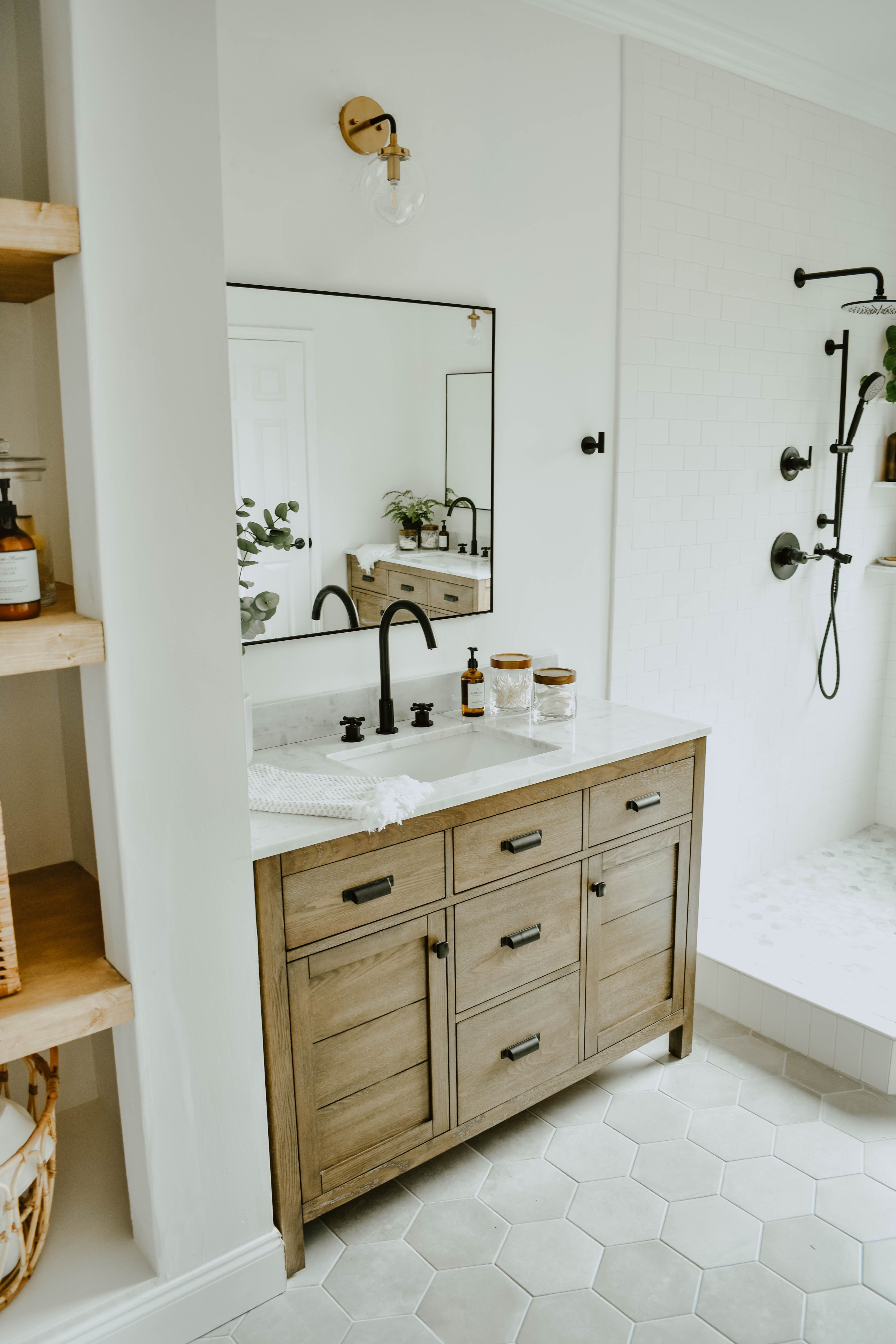 Modern Eclectic Bathroom Remodel White Subway Tile Bathroom Wooden Bathroom Vanity Eclectic Bathroom