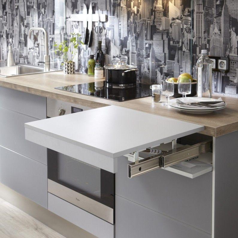 Plan De Travail Retractable Dans La Cuisine Meuble Cuisine Cuisine Fonctionnelle Mobilier De Salon