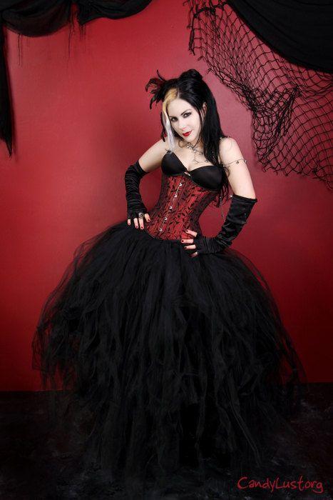 All Black Cyber Gothic Formal Wedding Tulle Skirt all sizes MTCoffinz. $150.00, via Etsy.