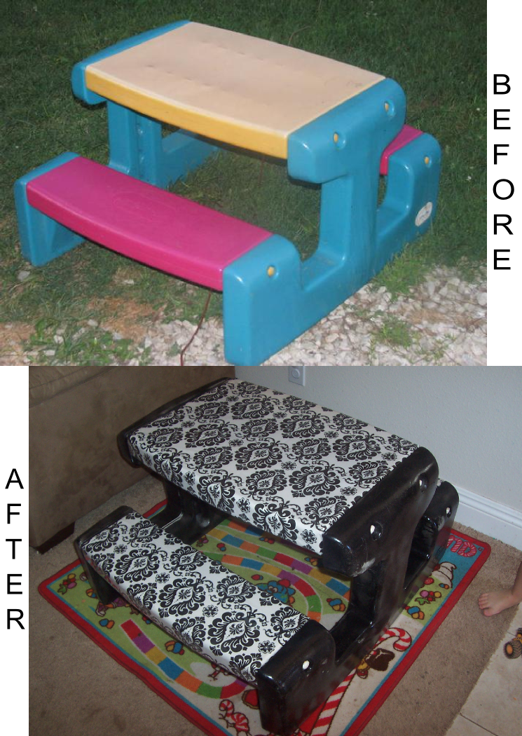 Redoing kids' plastic furniture - way more cute than the original. Now, do I have the desire to actually do this to ours? lol