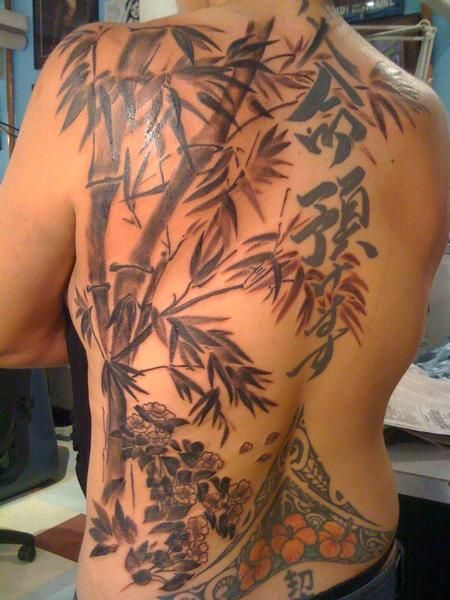 Black And Grey Bamboo Back Tattoo By Barnaby Williams At Castro