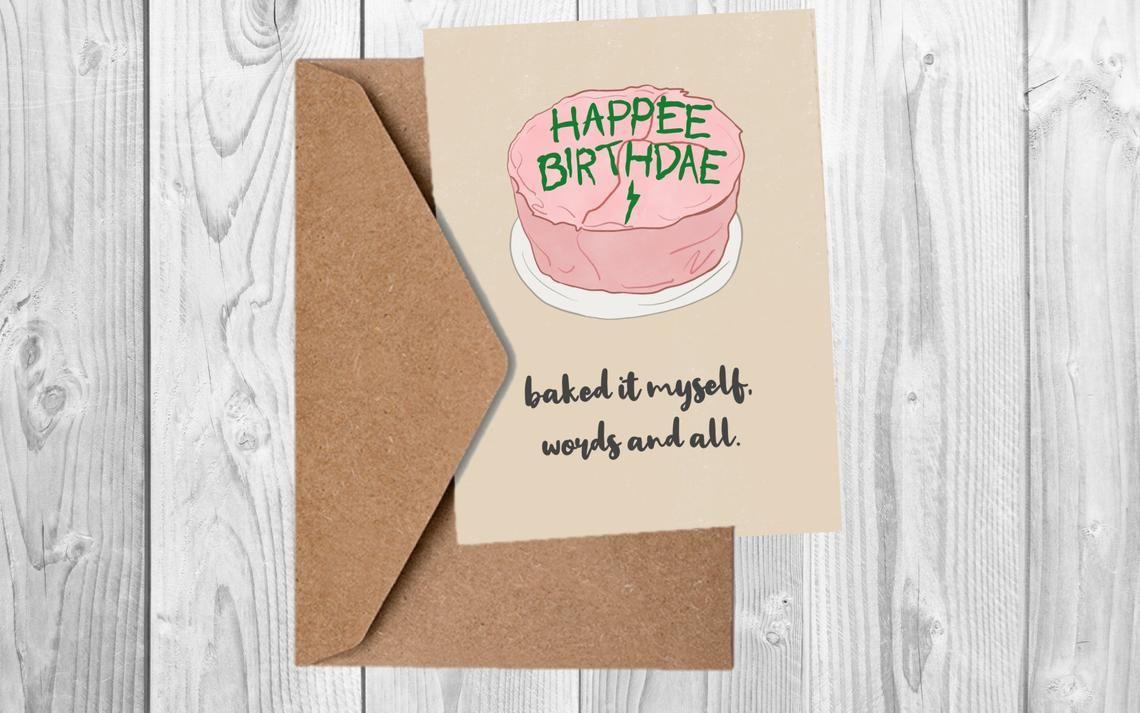 Harry Potter Inspired Birthday Card Happee Birthdae Etsy Harry Potter Birthday Cards Birthday Cards Funny Birthday Cards