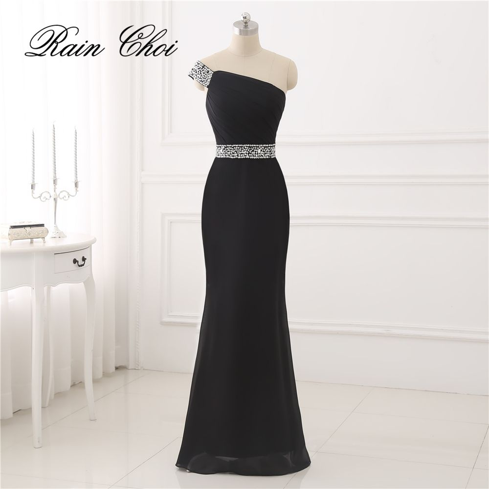 vintage black evening dresses long sexy one shoulder side slit